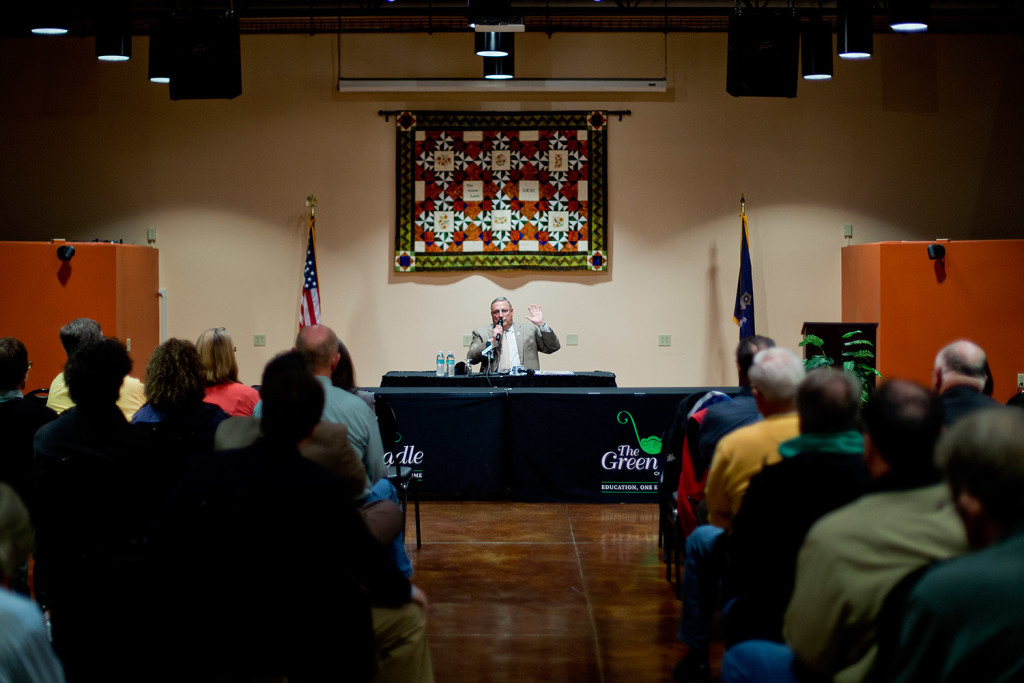 Gov. Paul LePage answers a question during a town hall forum Tuesday night at the Regional Technical Center at Lewiston High School. The governor addressed issues including education, the minimum wage and gun control. Gabe Souza/Staff Photographer