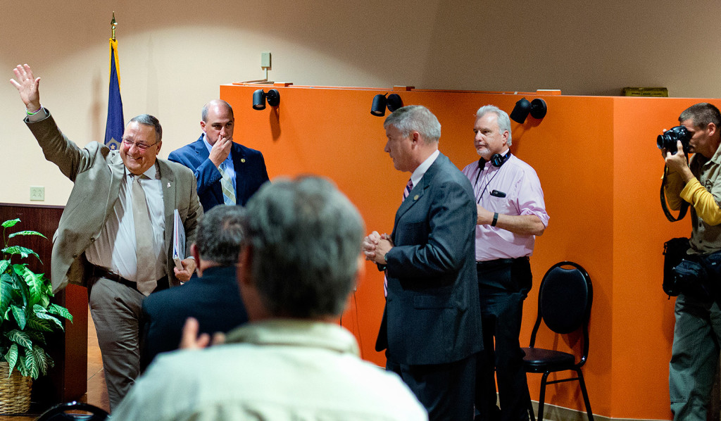 Gov. Paul LePage waves goodbye to the audience after Tuesday night's forum in Lewiston. Gabe Souza/Staff Photographer
