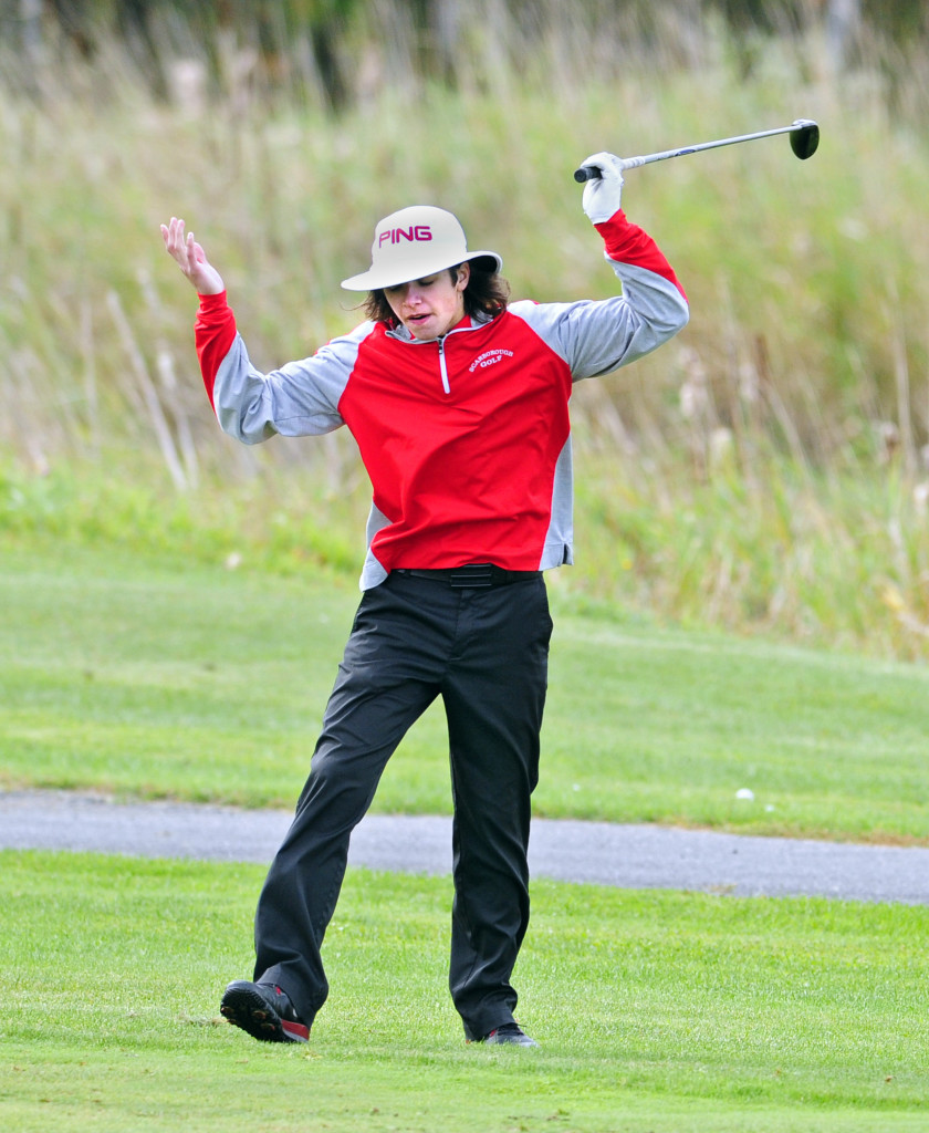:Scarborough's Drew Kane didn't seem too pleased with his drive on this hole, but he shot one of the day's best rounds – a 78 – as the Red Storm finished third in Class A. Joe Phelan/Kennebec Journal