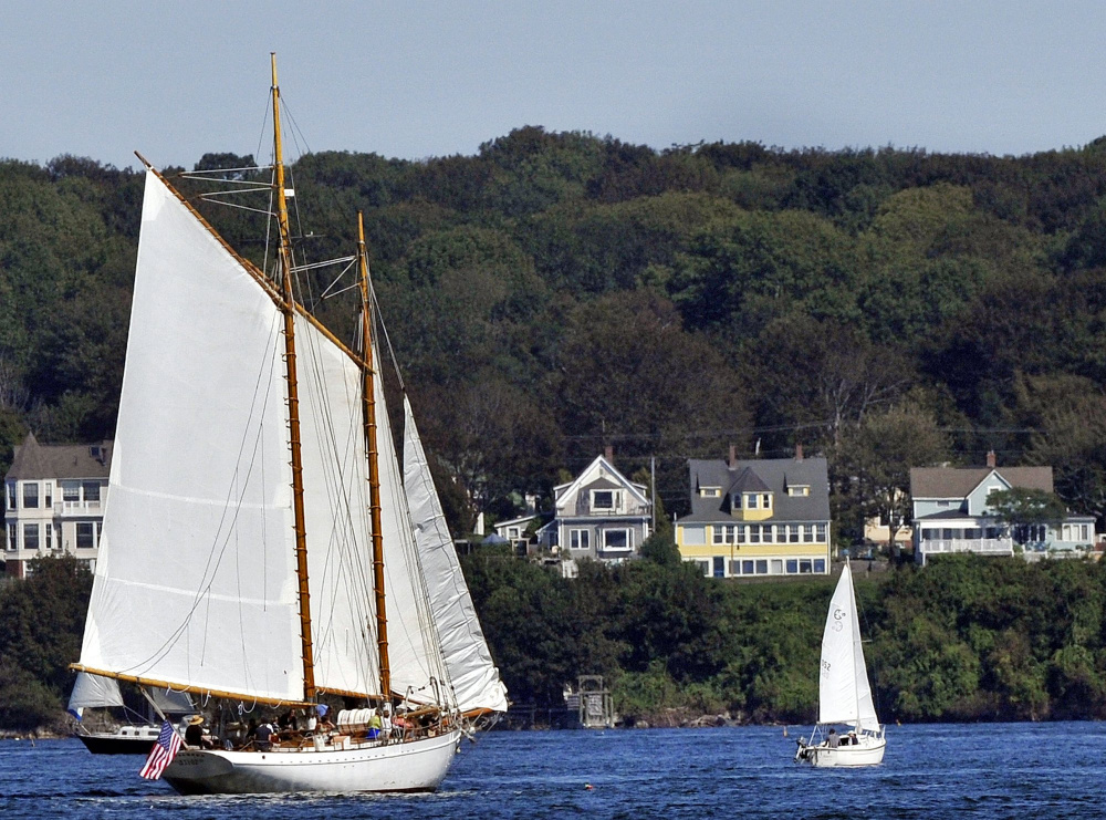 The Wendameen, of the Portland Schooner Co., is one of the two large commercial schooners at the Maine State Pier that became adrift overnight Wednesday.