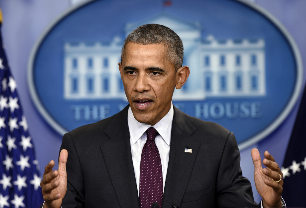 """President Obama speaks at the White House about Thursday's shootings in Oregon. He said, """"It cannot be this easy for somebody who wants to inflict harm on other people to get his or her hands on a gun."""""""