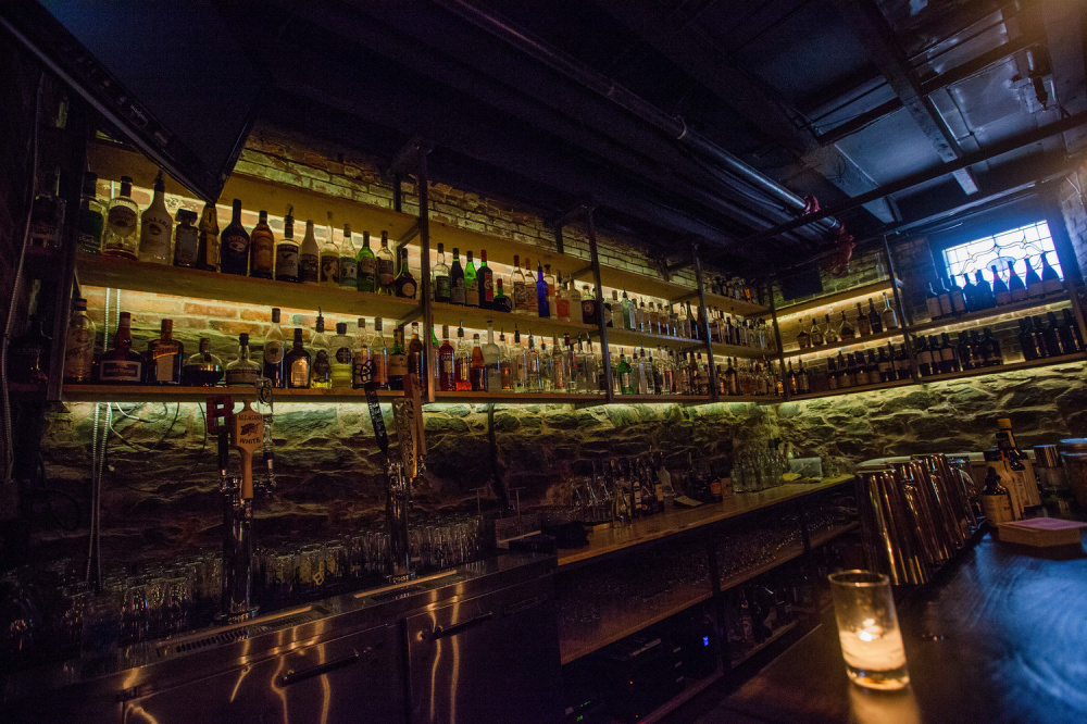 The candle-lit interior of Bramhall, which features an appealing selection of beverages, appetizers and a short dinner menu.