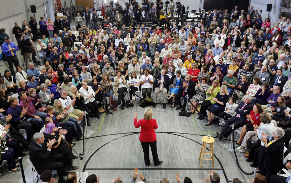 Democratic presidential candidate Hillary Rodham Clinton speaks during a campaign stop at the Manchester Community College in New Hampshire.