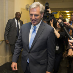House Majority Leader Kevin McCarthy of California walks out of a meeting on Capitol Hill in Washington on Thursday after dropping out of the race to replace House Speaker John Boehner.
