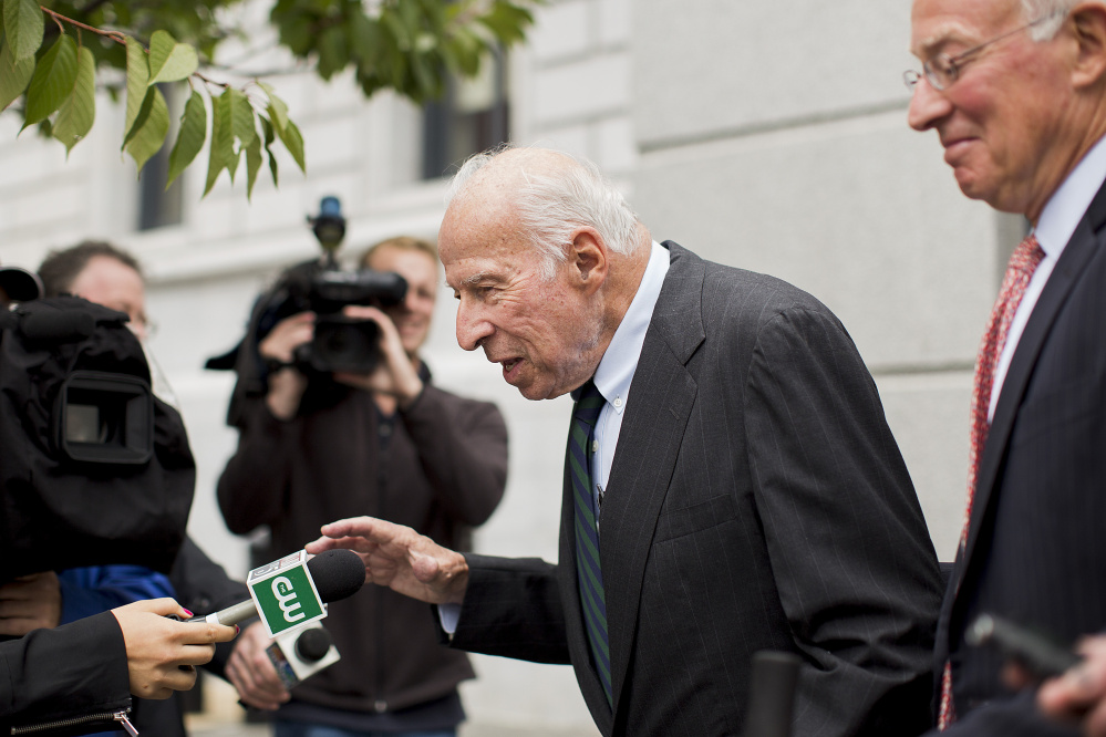 Brace declines to comment as he leaves the courthouse. Brace, who led a Camden-based charity, embezzled more than $4.6 million from the nonprofit before his retirement last year. He was sentenced Friday to 4 years in prison on federal mail and tax fraud charges.