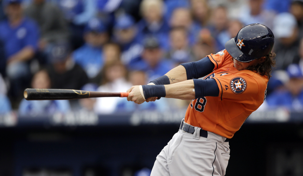 Houston's Colby Rasmus hits a solo home run in the third inning to give the Astros a 4-1 lead. Houston didn't score again, as Kansas City came back for a 5-4 win. The Associated Press