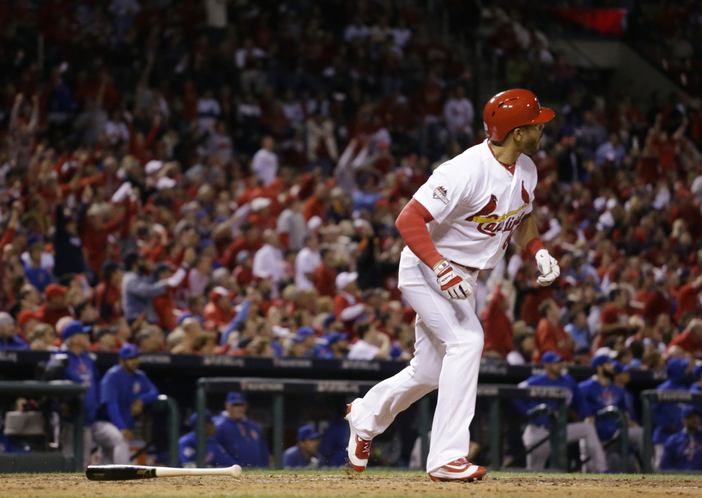 The Cardinals' Tommy Pham watches his solo home run off Lester in the eighth inning.