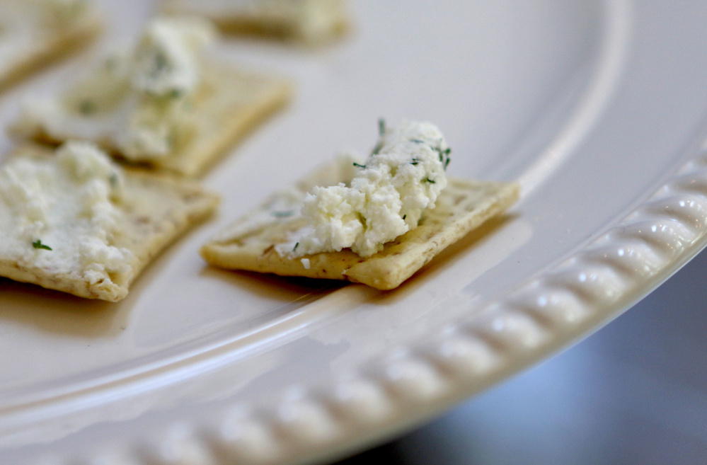 Garden herbs-and-garlic chevre waits for visitors at Sunflower Farm Creamery on Sunday.
