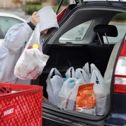 """Melody Bertrand of Durham loads her car with plastic bags filled with products from Target at the Topsham Fair Mall. She said she forgot to bring her reusable bags to Target. """"I always recycle the plastic bags by bringing them back and putting them into the plastic bag recycle container inside Target,"""" she said. """"They should let people take the merchandise to their cars and put the bags back into the cart to be recycled by the store. The store should make the bags bigger and put more into them,"""" she said."""