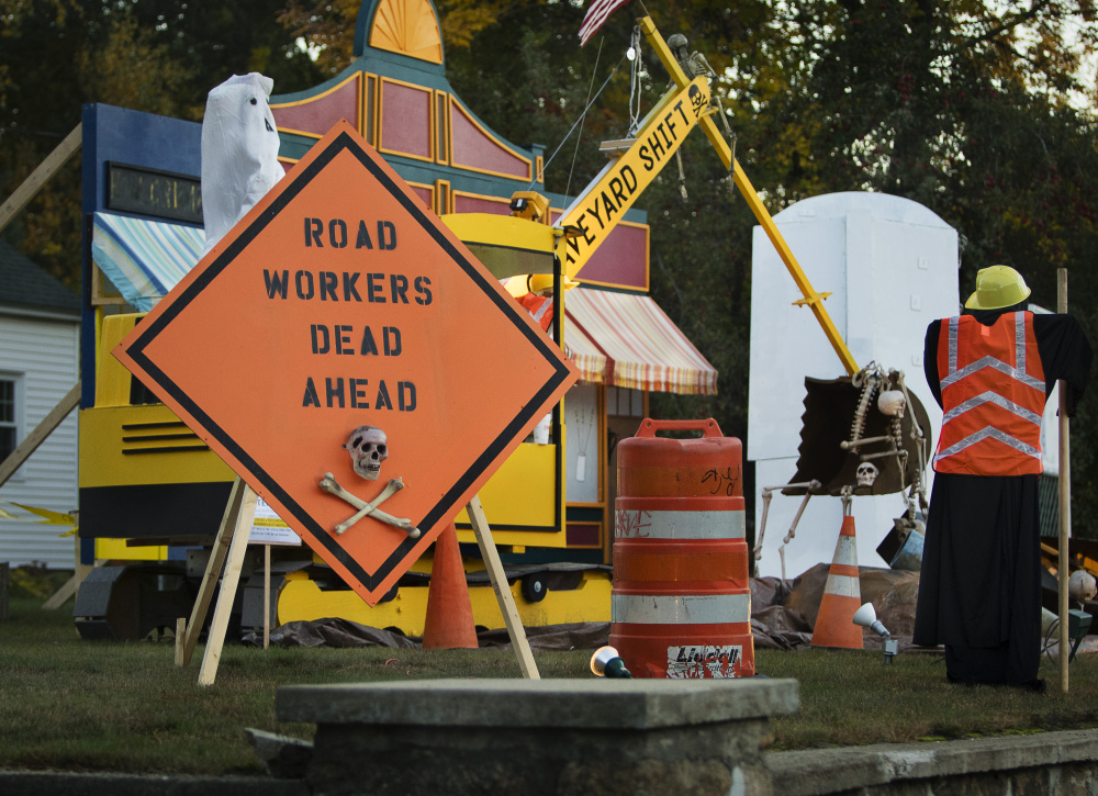 Ogunquit's Halloween display pokes fun at the 2.3-mile, $13.5 million road project that has disrupted the main stretch of Ogunquit for months. Carl D. Walsh/Staff Photographer