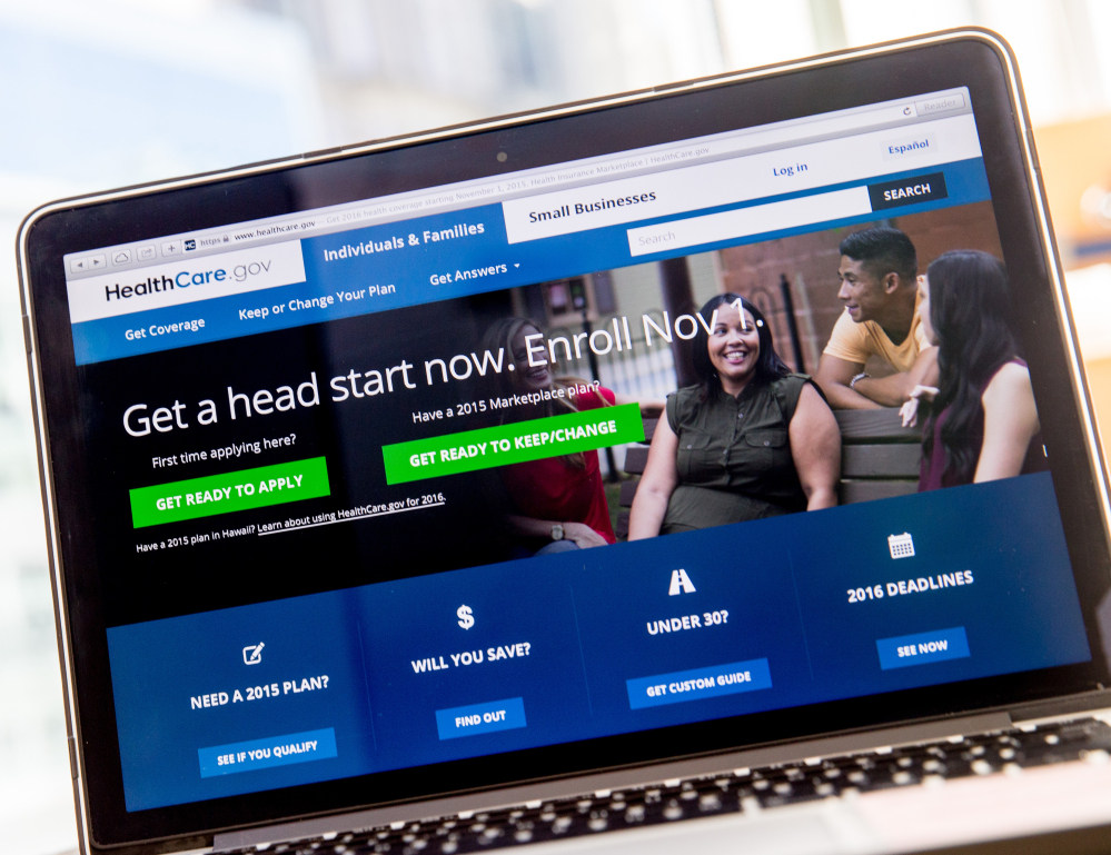 The HealthCare.gov website, where people can buy health insurance, is displayed on a laptop screen in Washington, D.C., this month.