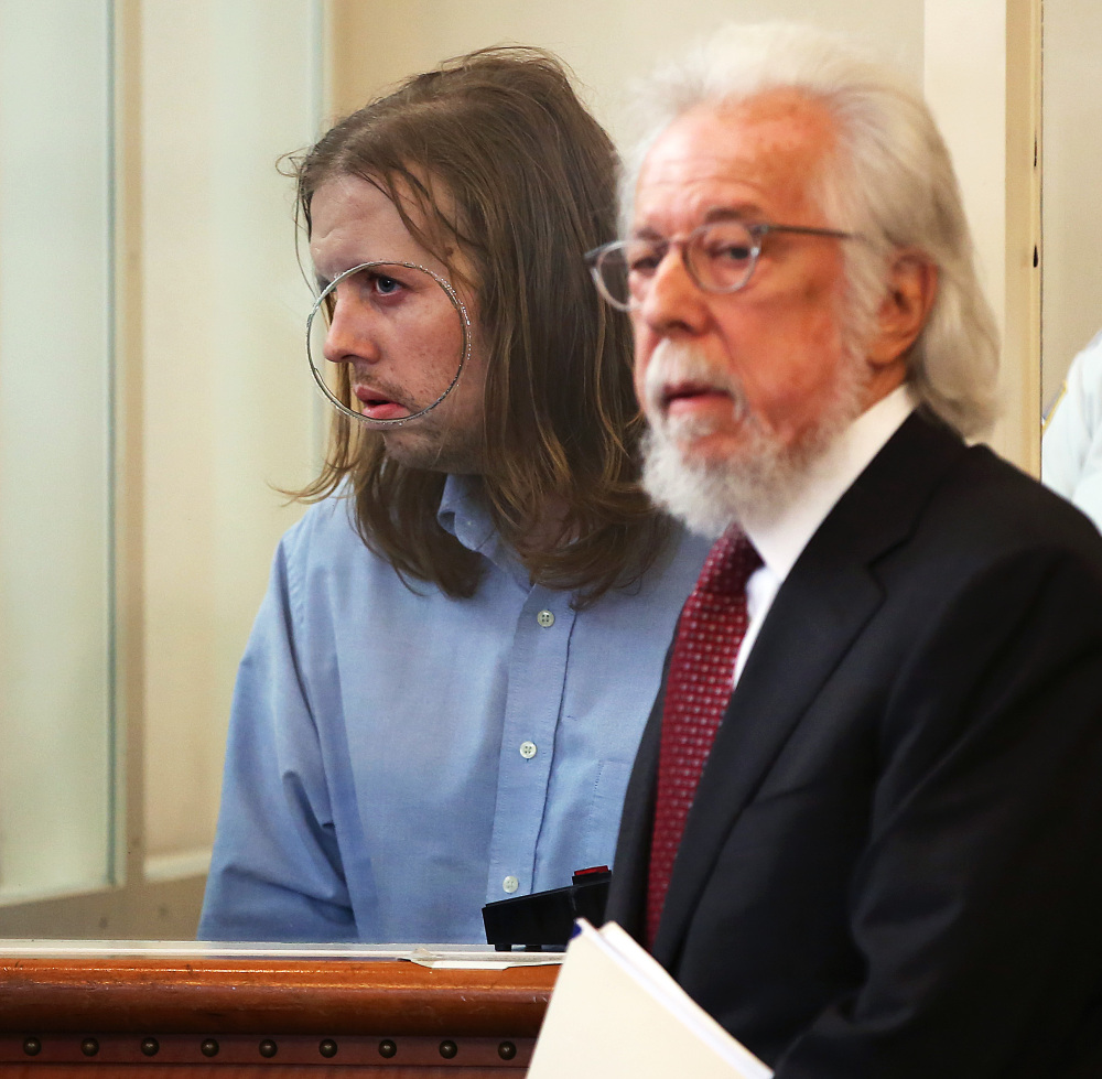 Michael McCarthy is arraigned on murder charges in the death of Bella Bond in Dorchester District Court in Boston last month.