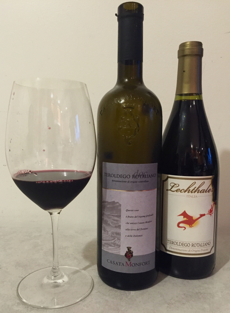 Teroldego Rotalianos from Casata Monfort and Lechthaler wineries are excellent examples of the bewitching Italian reds from Trentino, left, in the Dolomite foothills.