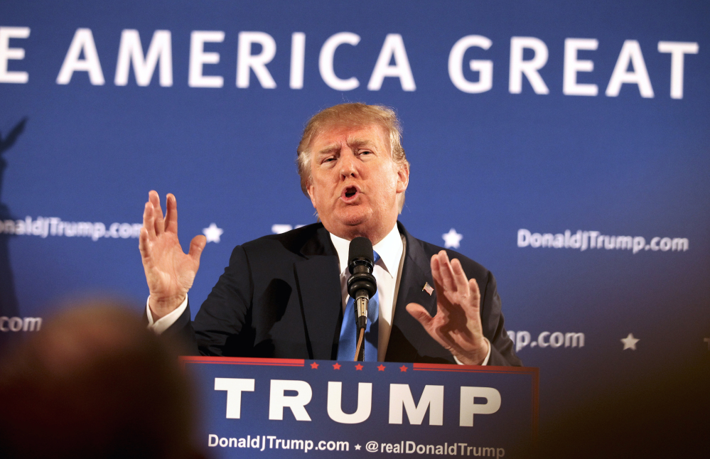 Donald Trump speaks at a town hall meeting Monday in Atkinson, N.H. The Associated Press