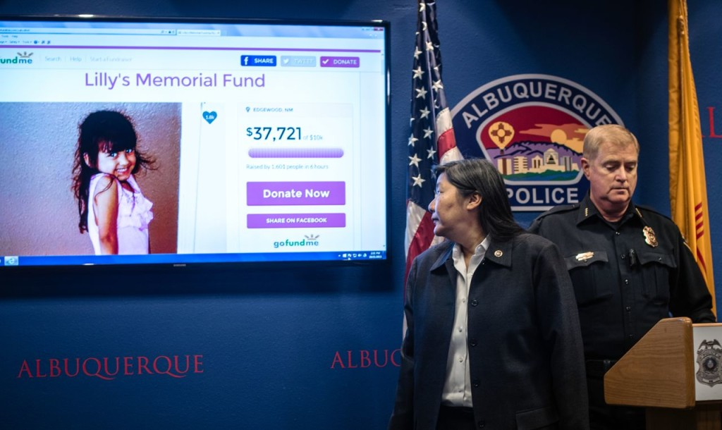 FBI special agent in charge Carol  Lee, left, and Albuquerque Police Department Chief Gorden Eden address the media about the shooting death of 4-year-old Lilly Garcia, who was shot in Albuquerque, N.M., Wednesday. Roberto E. Rosales/The Albuquerque Journal via AP