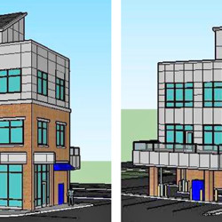 An artist's rendering of the proposed Bangor Savings Bank building at 20 Marginal Way. At left is the side that would face Marginal Way. At right is the side that would face I-295.
