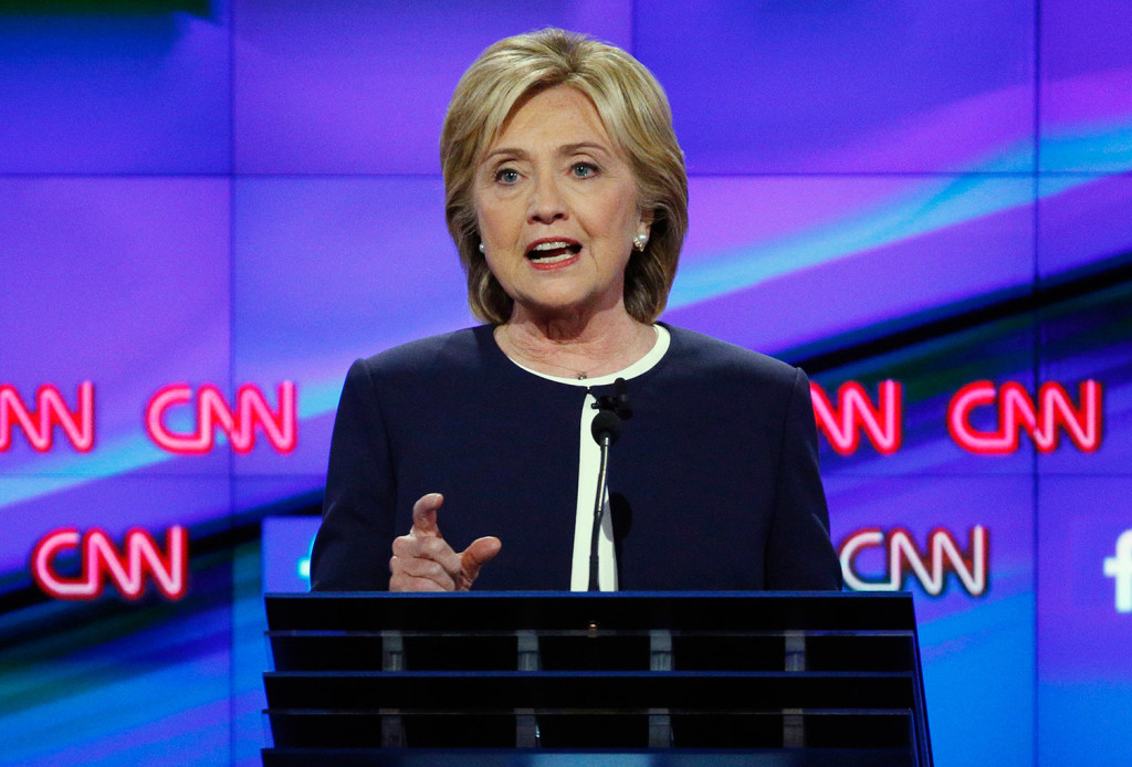 """Hillary Clinton, questioned about her shifting positions, said, """"Like most human beings, I do absorb new information, I do look at what's happening in the world."""""""