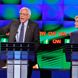 Sen. Bernie Sanders of Vermont and Hillary Clinton, the front-runners in the Democratic presidential primary, took each other on directly for the first time in Tuesday night's debate.