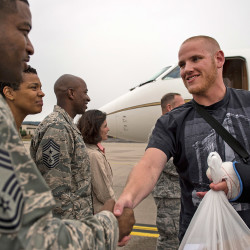 In this Aug. 24 photo, U.S. Air Force Airman 1st Class Spencer Stone, arrives at Ramstein Air Base, Germany, after  French President Francois Hollande awarded him, two other Americans and a British citizen with France's highest honor, the Legion d'honneur, for helping disarm a machine gun-toting suspected Islamist militant on a train..