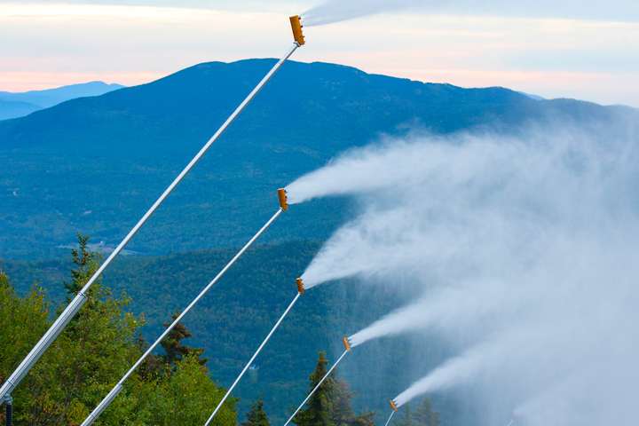 Sunday River conducts a snowmaking test on Sept. 22. The Newry ski resort plans to open Monday.