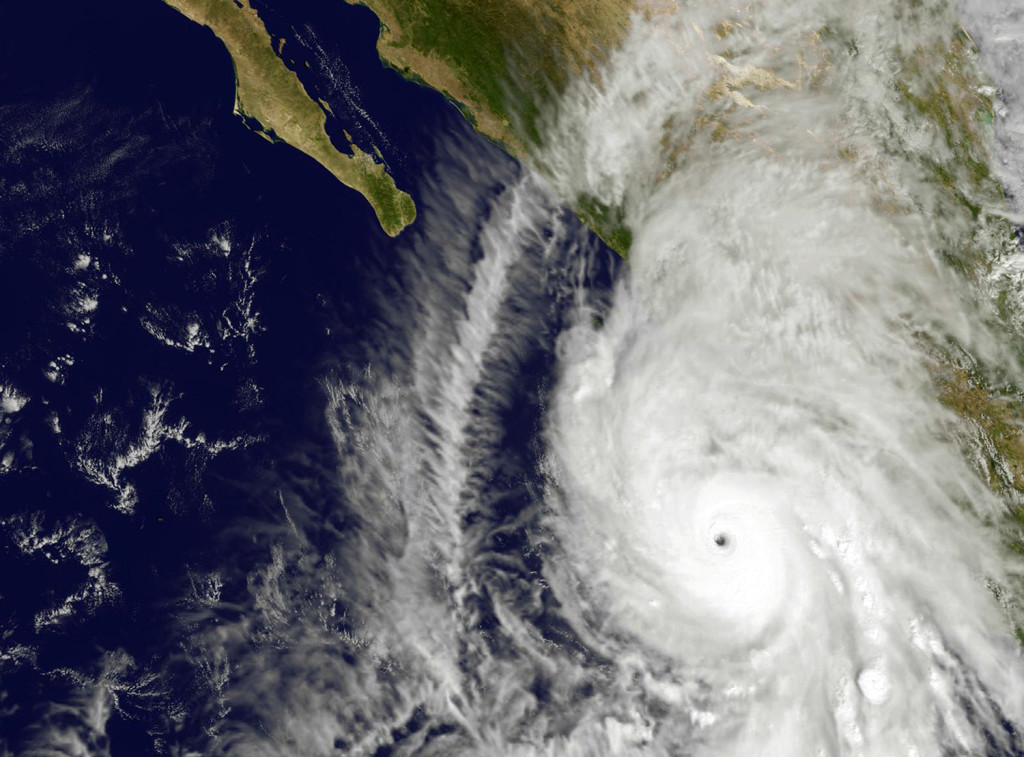 This satellite image taken at 1:45 p.m. EDT on Friday shows the eastern quadrant and pinhole eye of Hurricane Patricia moving towards southwestern Mexico. The Category 5 storm is strongest ever recorded in the Western Hemisphere, according to forecasters.