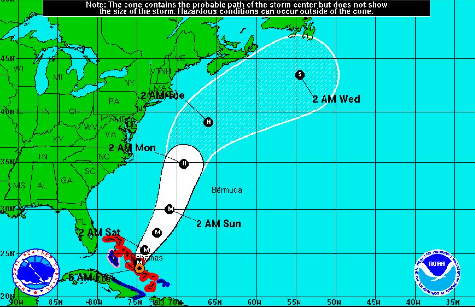 This screenshot shows NOAA's predicted track for Hurricane Joaquin, as of 5 a.m. Friday.