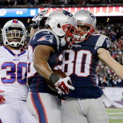 Patriots running back James White, center, celebrates his first touchdown of the game with wide receiver Danny Amendola. The Associated Press