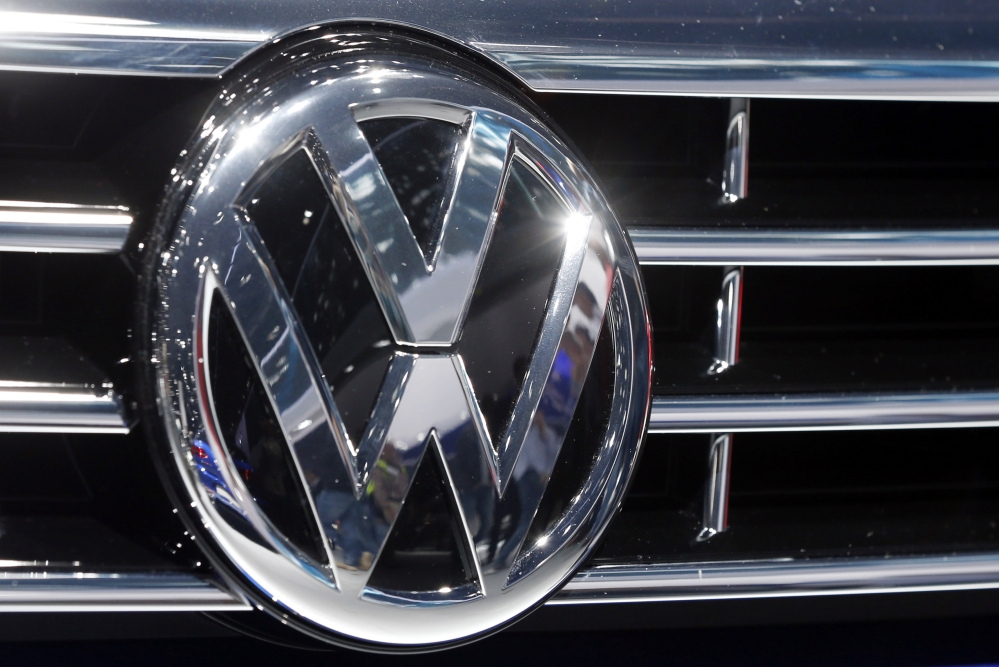 In this Sept. 22, 2015, file photo, the logo of Volkswagen at a car is photographed during the Car Show in Frankfurt, Germany.