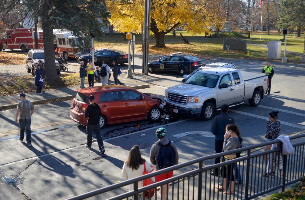 A three-car collision backed up traffic at the intersection of Elm and Appleton streets in front of the Waterville Public Library on Wednesday.