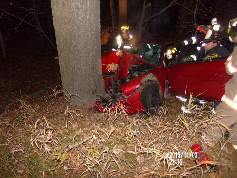 A single vehicle car accident on Route 4 in North Jay Tuesday night left a Wilton woman and her grandson with injuries.