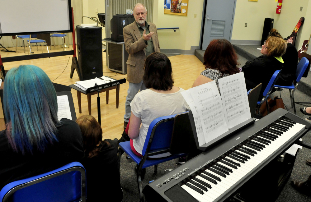 Musician John Foss of Palermo speaks with Madison Area Memorial High School students about his decades of playing trumpet with various bands including the Navy, Tommy Dorsey Band and the Beach Boys, during a Career Day event at the school on Wednesday.