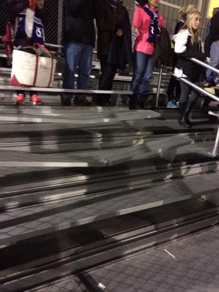 A row of bleachers at the Ricky Gibson Field of Dreams was damaged by spectators during the Class B South boys soccer championship game between host Maranacook and Yarmouth on Wednesday night in Readfield.