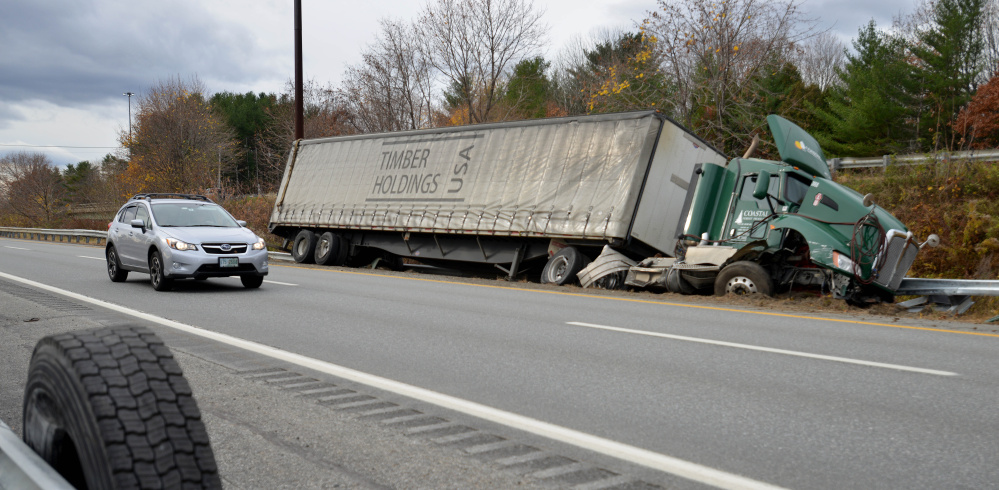 A tractor-trailer hit the guard rail on I-95 north early Saturday morning.
