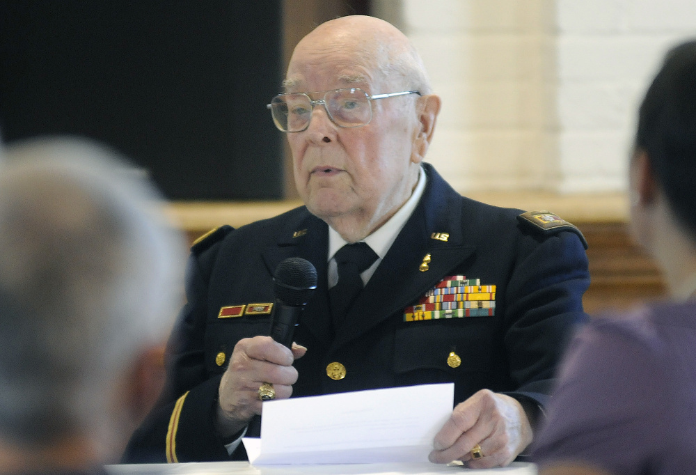 Ivan LaBree discusses on Sunday his service during WWII at Penney Memorial United Baptist Church in Augusta.
