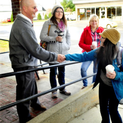 City Council candidates Stephen Soule, Jacqueline Dupont and Karen Rancourt-Thomas greet voters on Tuesday, November 3, 2015. Soule and Dupont each won their races.