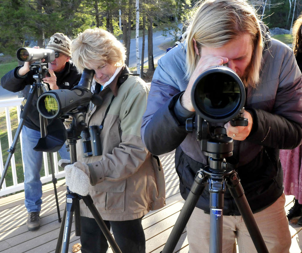 These avid bird-watchers train their scopes on ducks and waterfowl on North Pond in Rome on Sunday. From left are Louis Bevier, Margaret Viens and Logan Parker.