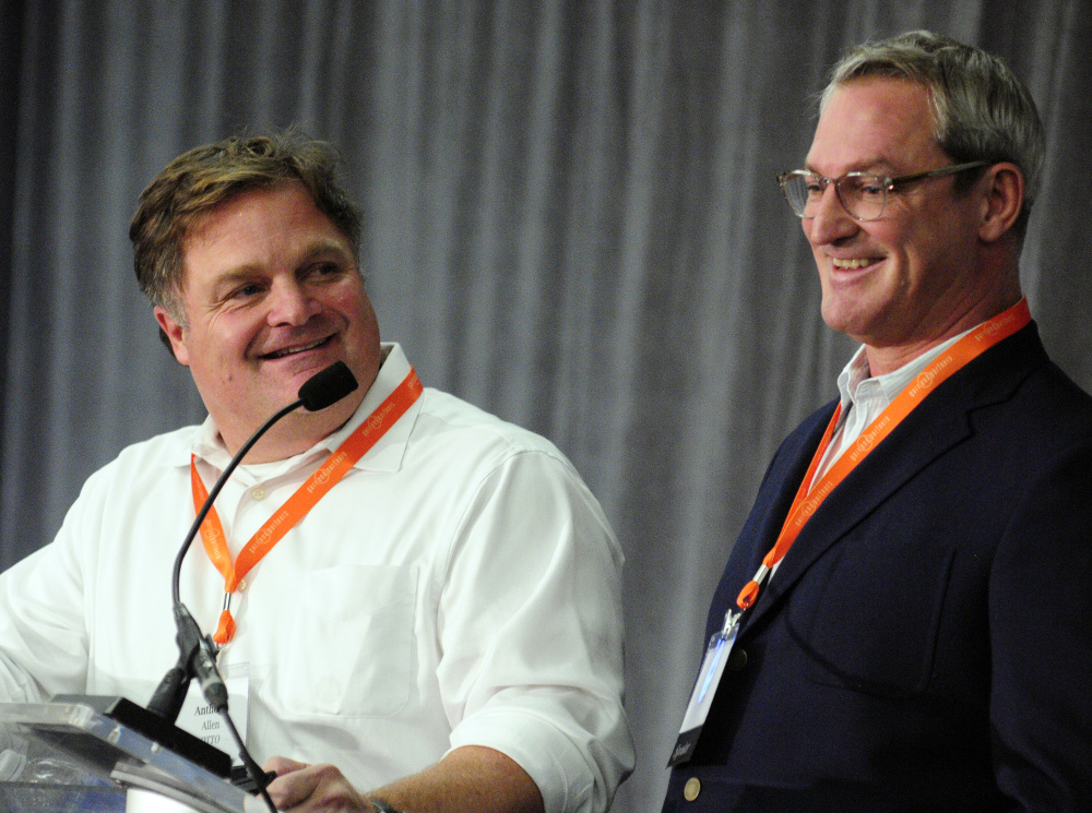 OTTO Pizza co-founders Anthony Allen, left, and Mike Keon give keynote address on Tuesday during the Mainebiz Momentum Convention at Augusta Civic Center.
