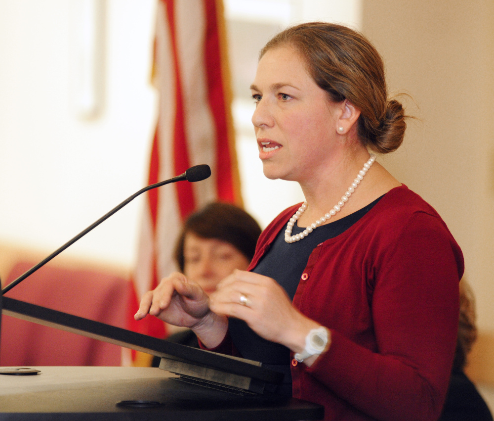 Adria Horn, director of the Maine Bureau of Veterans Service, speaks during a veterans event Tuesday in the Randall Center at the University of Maine at Augusta.