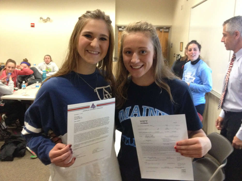Messalonskee seniors Riley Field, right, and Emily Hogan signed their National Letters of Intent to play Division I field hockey next fall. Field will attend the University of Maine while Hogan will go to American University in Washington, D.C.