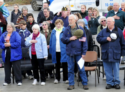 Attendees recite the Pledge of Allegiance at the Veterans Day ceremony in Farmington on Wednesday.