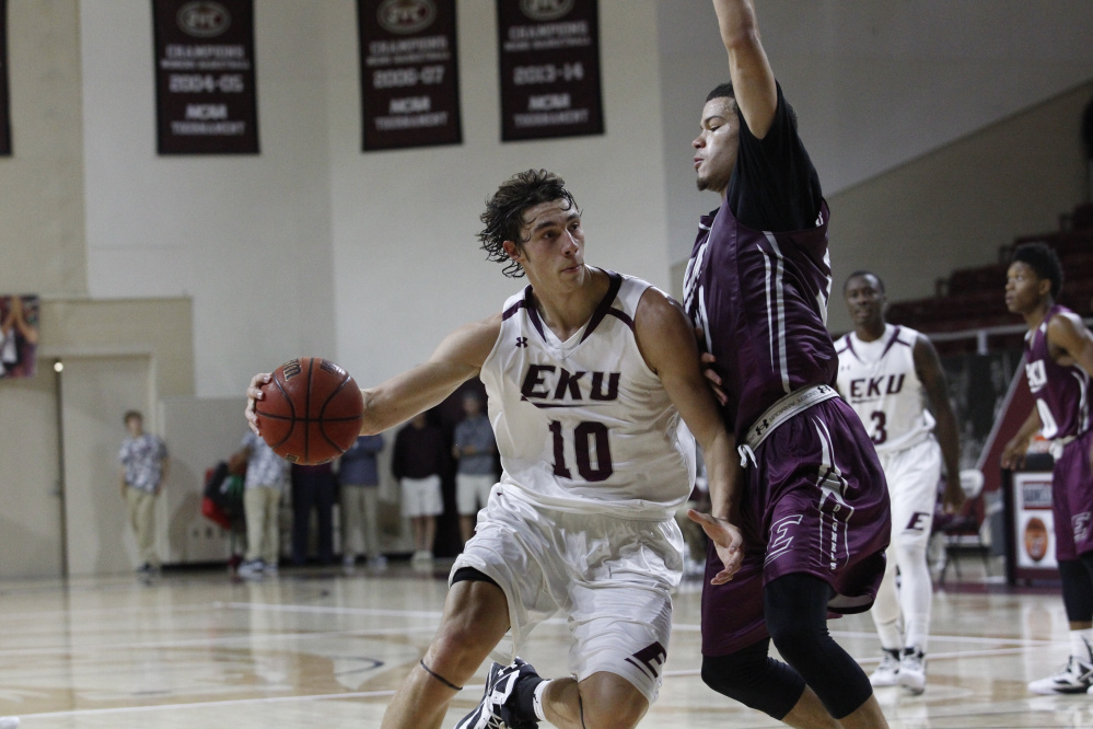 Eastern Kentucky freshman Nick Mayo scored 17 points in an exhibition game against Union College on Sunday. Mayo, a Messalonskee graduate, has high expectations this season.