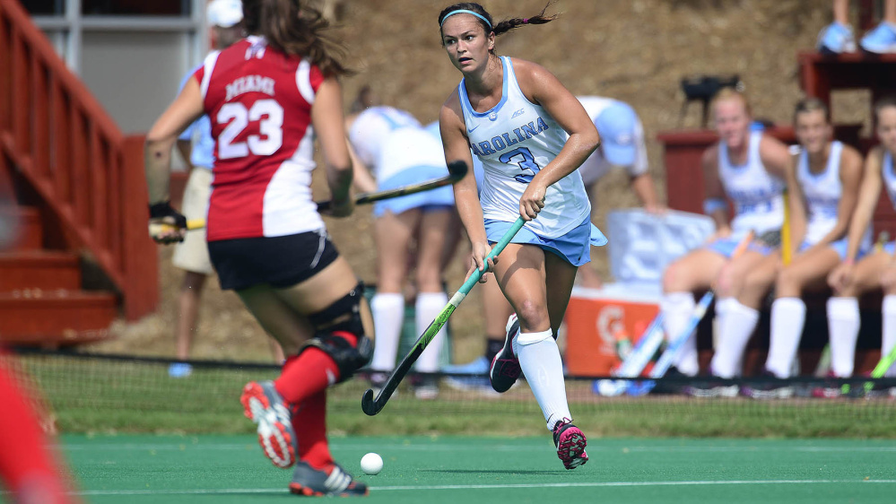 University of North Carolina junior left back Kristy Bernatchez controls the ball during a game earlier this season. Bernatchez has started 14 of the 18 games she's played for the No. 2 Tar Heels. On Saturday, Kristy will meet sister Katie and Boston University in an NCAA tournament game.