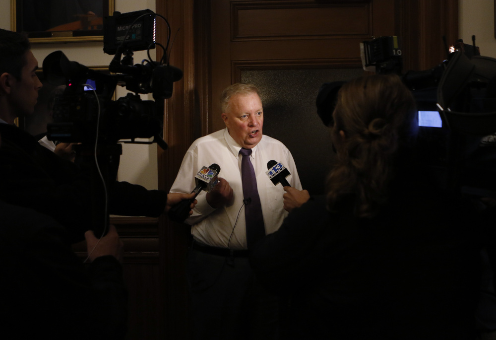 Lewiston Mayor Bob MacDonald speaks with the media November 3 after election results were release in Lewiston.