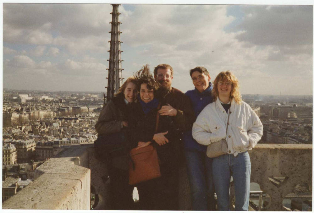 Chelsea Ray pictured with her host family on top of the Notre Dame in 1988. She confirmed that the family was OK after terrorist attacks in Paris killed 129 people Friday night.