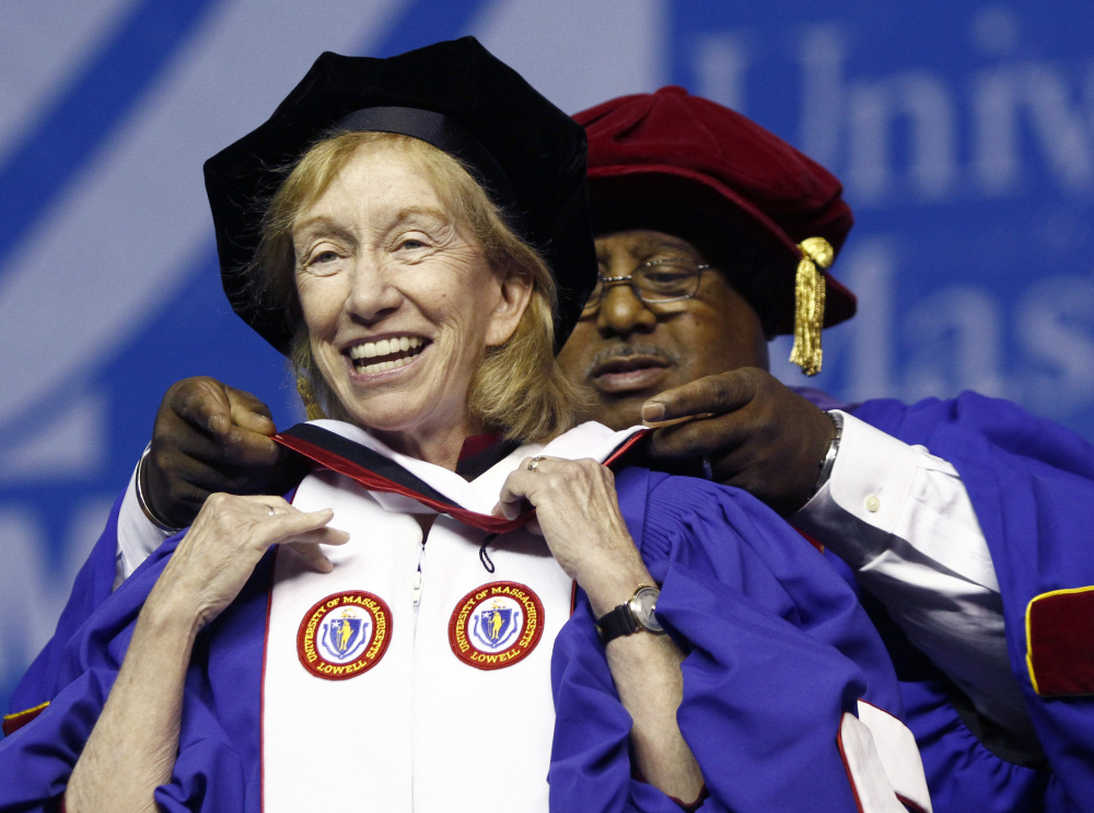Author Doris Kearns Goodwin, pictured at the University of Massachusetts-Lowell commencement in 2010, was paid $45,000 for making a speech during Leadership Week at the University of Maine in 2012.