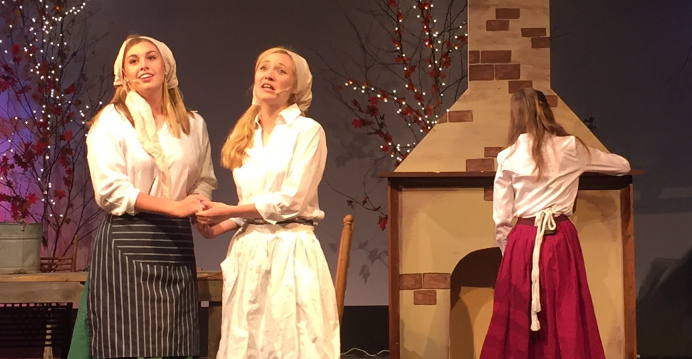 "From left, Hodel (Abby Despres), and Chava (Ally Phair) hope for love as they sing ""Matchmaker"" as Tzeitel (Ariana Wiles) listens in the background."