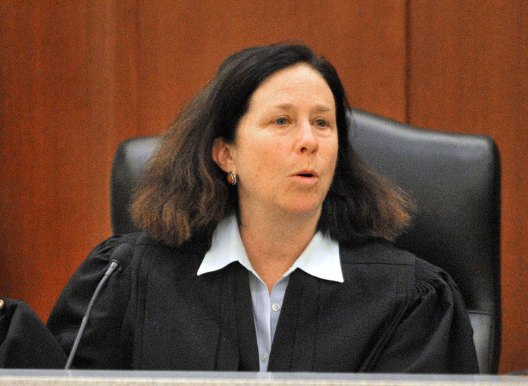 Superior Court Justice Michaela Murphy during opening statements in the Capital Judicial Center on Thursday in the trial jury trial of Roland L. Cummings, accused of murdering 92-year-old Aurele Fecteau in May 2014 in Fecteau's Waterville home.