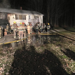 Firefighters from several communities responded Tuesday to a fire at a duplex in Greene.