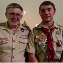 Eagle Scout Austin Knowlton, right, with Troop Master Charlie Matthews Troop 460 Fairfield.