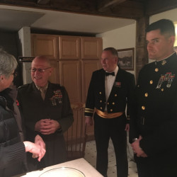 From left, are Kate Connelly, Col. Don Welsh, Lt. Cmdr. Ernie Farrar, all of Wayne, and Maj. Adam Sacchetti, of Brunswick.
